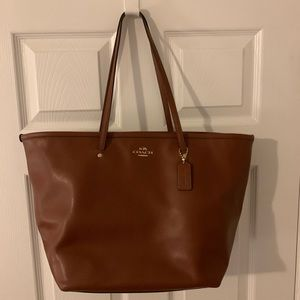 Large Brown Coach Tote Purse Bag